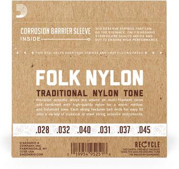 D'Addario EJ33 Folk Nylon Guitar Strings, Ball End, 80/20 Bronze/Clear Nylon Trebles EJ33