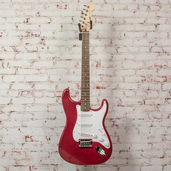 Squier Bullet Stratocaster Hardtail Limited Edition Electric Guitar Red Sparkle x9764 (USED)