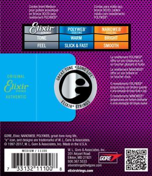 Elixir Polyweb 80/20 Bronze Medium Acoustic Guitar Strings 13-56