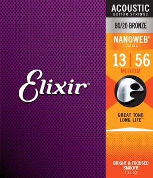 Elixir Nanoweb 80/20 Bronze Medium Acoustic Guitar String 13-56