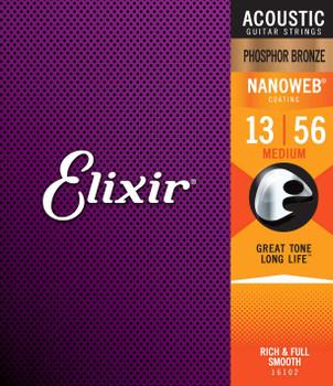 Elixir Nanoweb Medium Phosphor Bronze Acoustic Guitar String 13-56