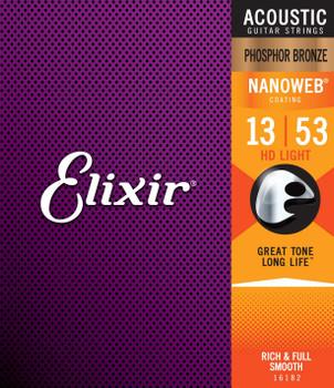 Elixir Nanoweb HD Light Phosphor Bronze Acoustic Guitar Strings 13-53