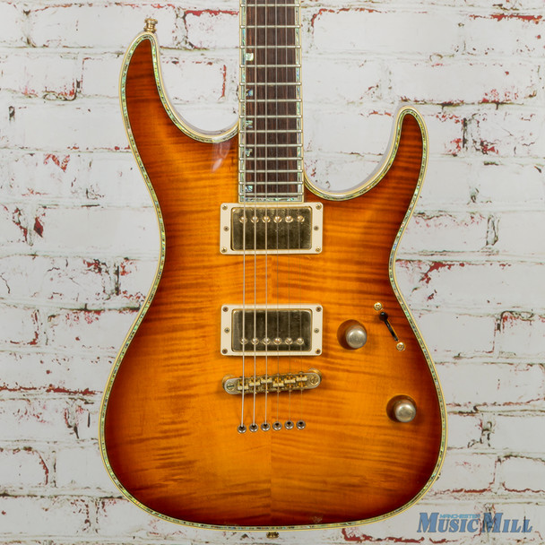 2002 LTD H-1000 Deluxe Electric Guitar Amber Flame w/HSC (USED)
