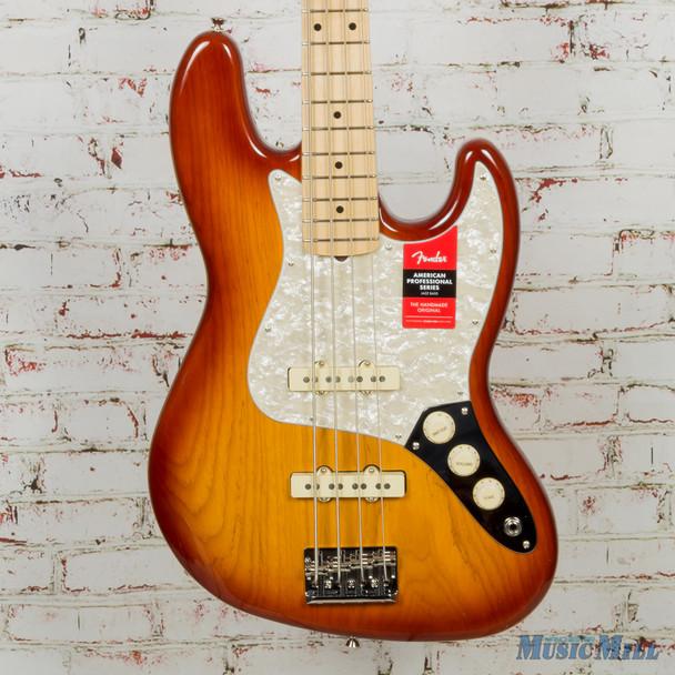 2019 Fender Limited Edition Lighweight Ash American Pro Jazz Bass, Sienna Sunburst 1339