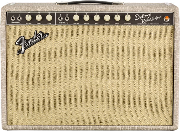 Fender 65 Deluxe Reverb Fawn Amplifier with Cane Grille, Celestion Greenback Speaker