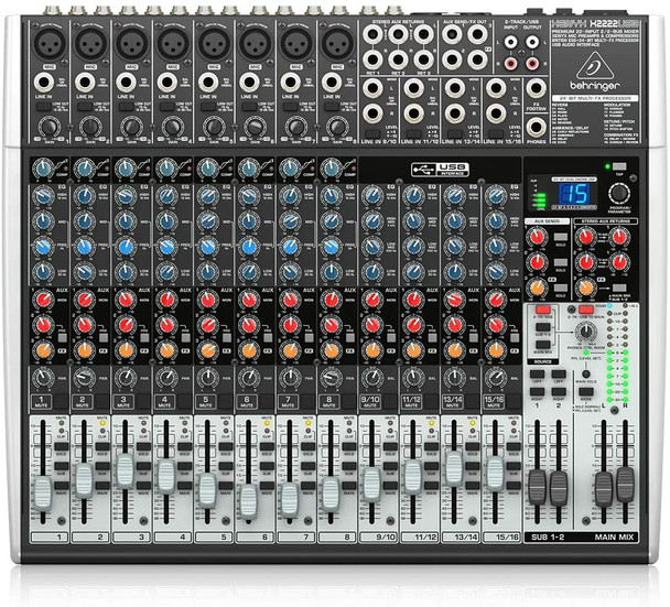 Behringer Xenyx X2222USB Premium 22-Input 2/2-Bus Mixer with USB/Audio Interface, Black