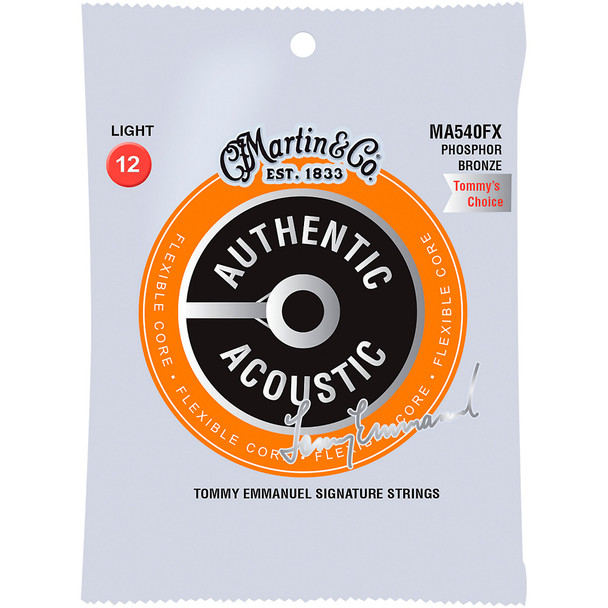 Martin MA540FX 92/8 Tommy Emmanuel Signature Authentic Acoustic Flexible Core Guitar Strings Light .012-.054