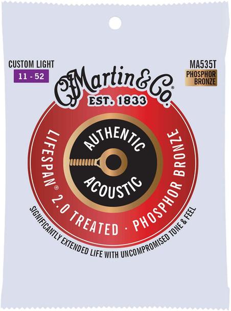 Martin MA535T  Authentic Acoustic Lifespan® Guitar Strings Custom Light .011-.052
