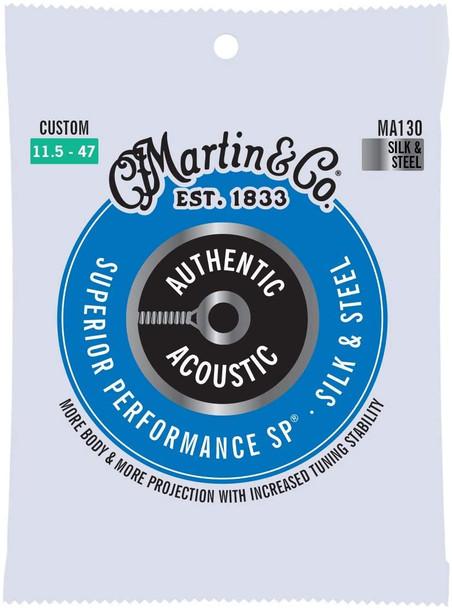 Martin MA130 Silk & Steel Folk Authentic Acoustic SP® Bronze Guitar Strings Custom .0115-.047