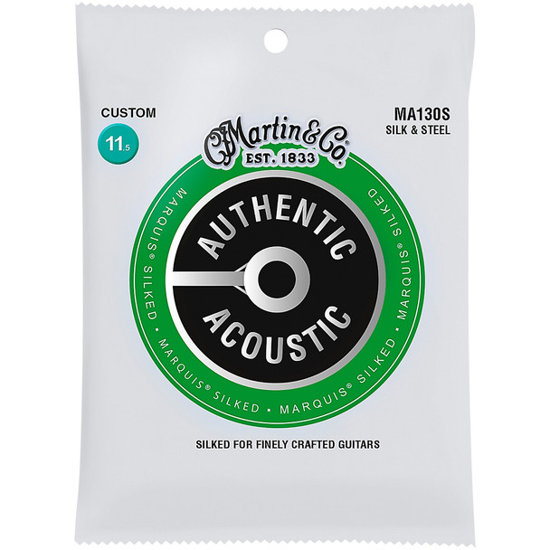 Martin MA130s Silk and Steel Folk Authentic Acoustic Marquis® Silked Guitar Strings Custom .0115-.047