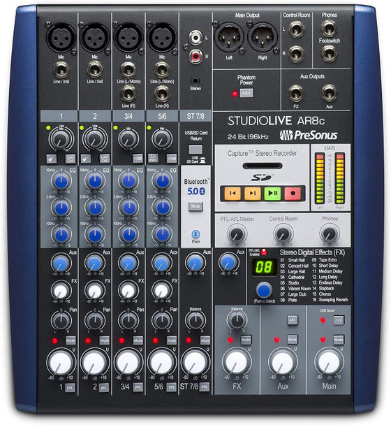 PreSonus StudioLive AR8c 8-Channel USB-C Hybrid Digital/Analog Performance Mixer, Unpowered