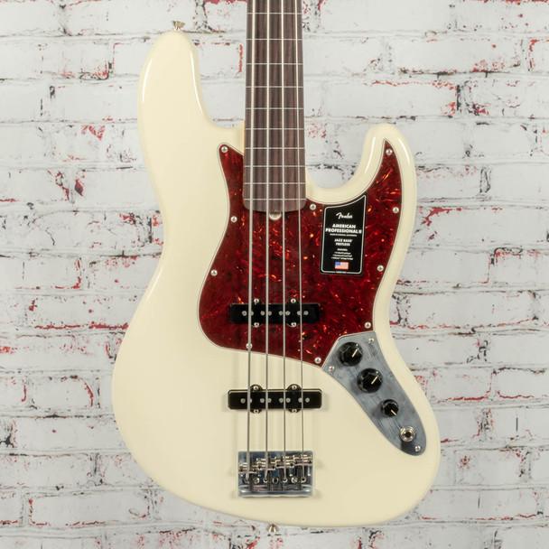 Fender American Professional II Jazz Bass Fretless Olympic White x0961