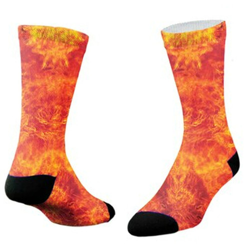 Sublimity® Premium Flame Crew Socks   Cool Custom Printed Design   Soft Dry Fit   Made in USA