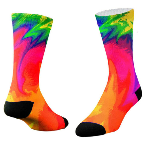 Sublimity® Passion Summer Tie Dye Print Crew Socks (1 Pair)