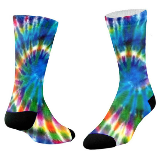 Sublimity® Peace & Love Tie Dye Print Crew Socks (1 Pair)