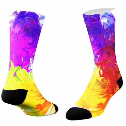 Sublimity® Rainbow Tie Dye Print Crew Socks (1 Pair)