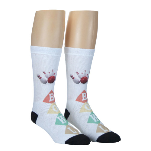 Sublimity® Print Bowling Crew Socks (1 Pair) Bowl White