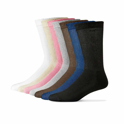 Sole Pleasers Diabetic Crew Calf Length Socks (12 Pair Pack)