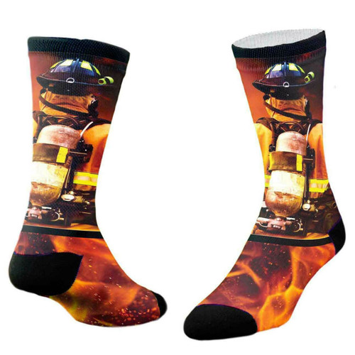 Sublimity® Into The Fire Print Firefighter Crew Socks