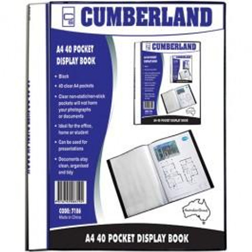 Cumberland 40 Fixed Pocket Display Book a4 Insertable cover and spine