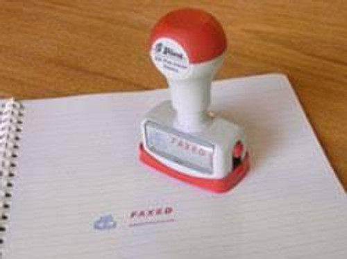 "Shiny self inking stamp ""Faxed"""