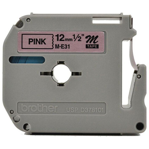 Brother 12mm Metalic Black on Pink M Labelling Tape - 8 meters