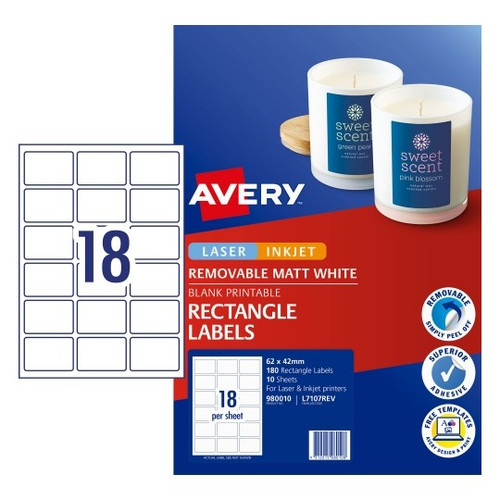 Avery Removeable Labels