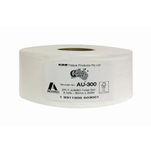 ABC Aussie  Premium Jumbo Toilet Roll 2Ply 300M 8Rolls
