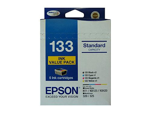 Epson #133   (133) Ink Value Pack contains BKCM & Y Yields as above