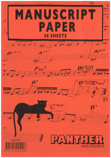 Panther Pad of Manuscript Paper A4 Pad of 50 Sheets