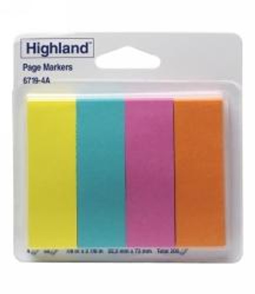 HIGHLAND NOTE PADS #6719-4A PAGEMARKERS 4 PADS OF 50 SHEETS (200)