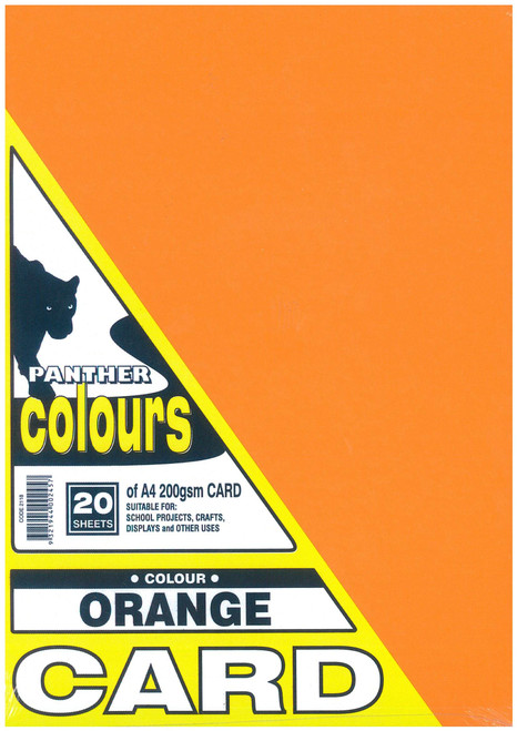 Panther Card 200GSM A4 Pack of 20 Orange