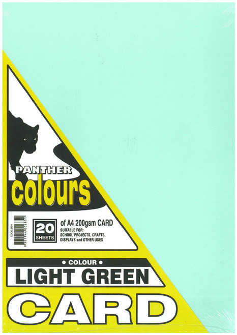 Panther Card 200GSM A4 Pack of 20 Light Green