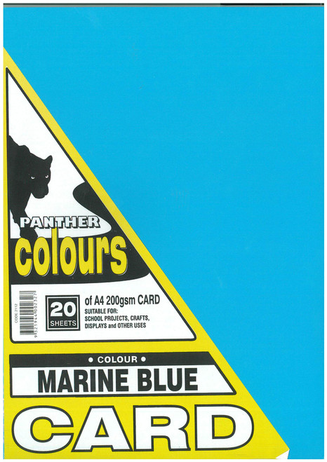 Panther Card 200GSM A4 Pack of 20 Marine Blue