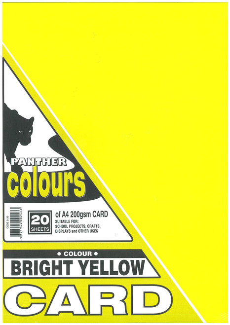 Panther Card 200GSM A4 Pack of 20 Bright Yellow
