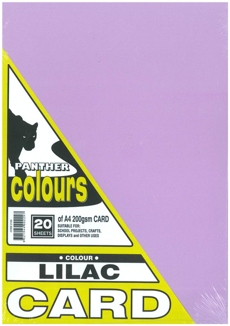 Panther Card 200GSM A4 Pack of 20 Lilac