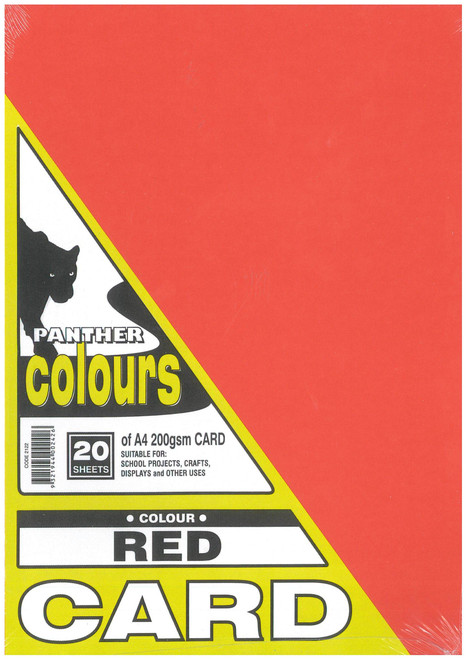 Panther Card 200GSM A4 Pack of 20 Red