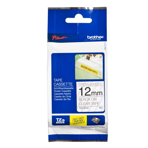 Brother 12mm Black on Clear Tape - 8 meters