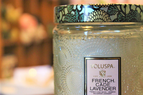 Large Embossed Glass Jar - French Cade and Lavender
