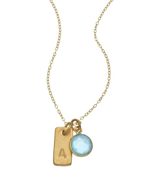 "CHARLENE K - Gemstone Initial Charm Necklace - 14K Vermeil - 16"""