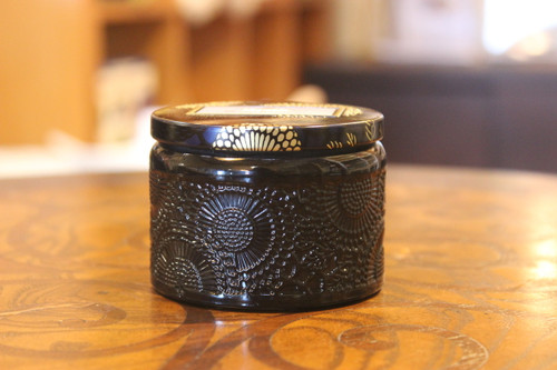 Petite Embossed Glass Jar - Moso Bamboo
