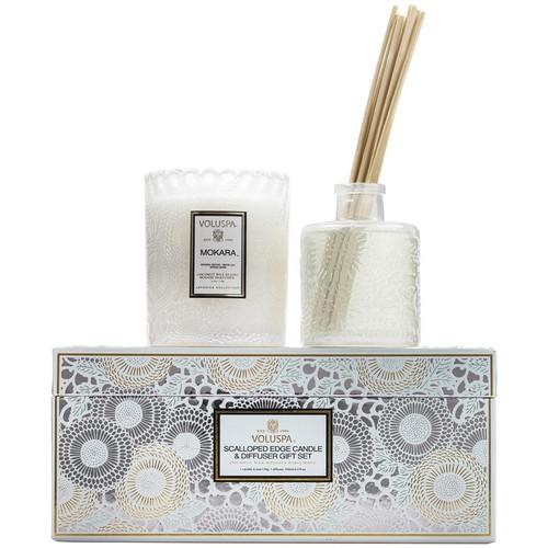 Scalloped Edge Candle & Diffuser Gift Set - Mokara