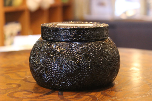 Chawan Bowl 2 Wick Embossed Glass Candle - Moso Bamboo