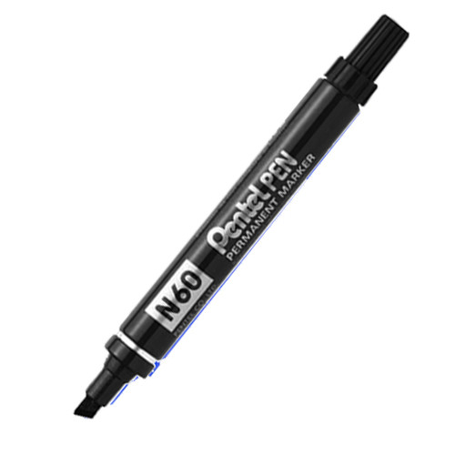 Marker Pentel N60A Permanent Chisel Point Black Box of 12