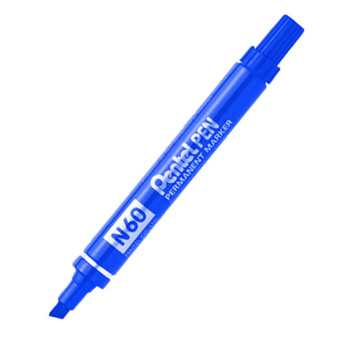 Marker Pentel N60C Permanent Chisel Point Blue Box of 12
