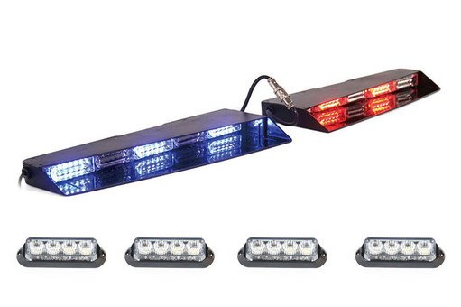 Extreme Tactical Dynamics Stealth Commander 9 Linear LED Visor Light Bar with 2 Pairs of Undercover 4