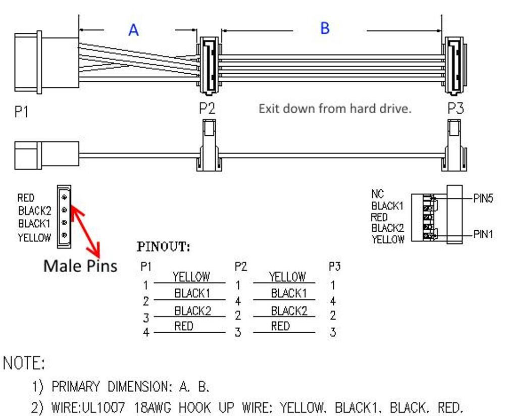 Sata Power Cable With Molex 4 Pin Male Cpu Stuff
