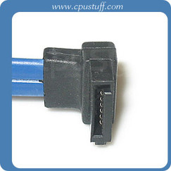 20 Inches Serial ATA blue cable assembly with straight to left angle