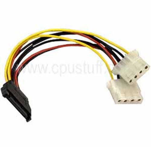 15-Pin SATA Power cable Male to Dual Molex 4-Pin Female 8 inches 15SATAPX2LP4F