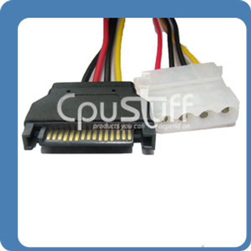15-Pin SATA Power Male to Single Molex 4-Pin Female 6 inches